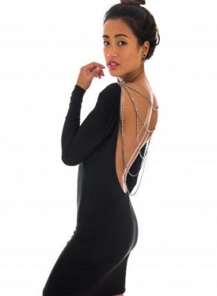 Little Black Dress - Black Backless Long Sleeve Dress | UsTrendy