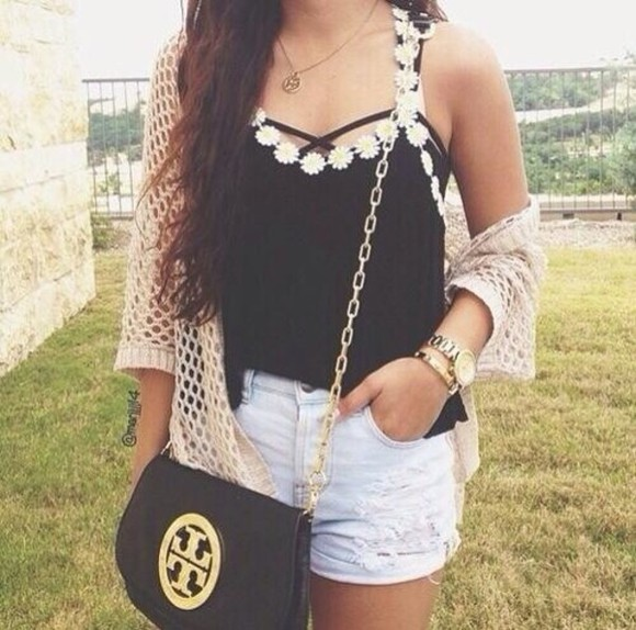 black tank top daisy strap black shorts tank top daisy strappy blouse summer outfits bag cardigan blouse white string daisy chain