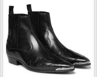 shoes yves saint laurent black boots silver