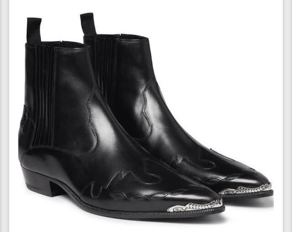 silver shoes yves saint laurent black boots
