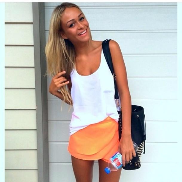 skirt neon orange spring a-line skirt