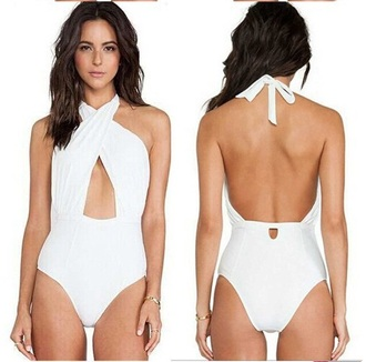 swimwear white v neck one piece