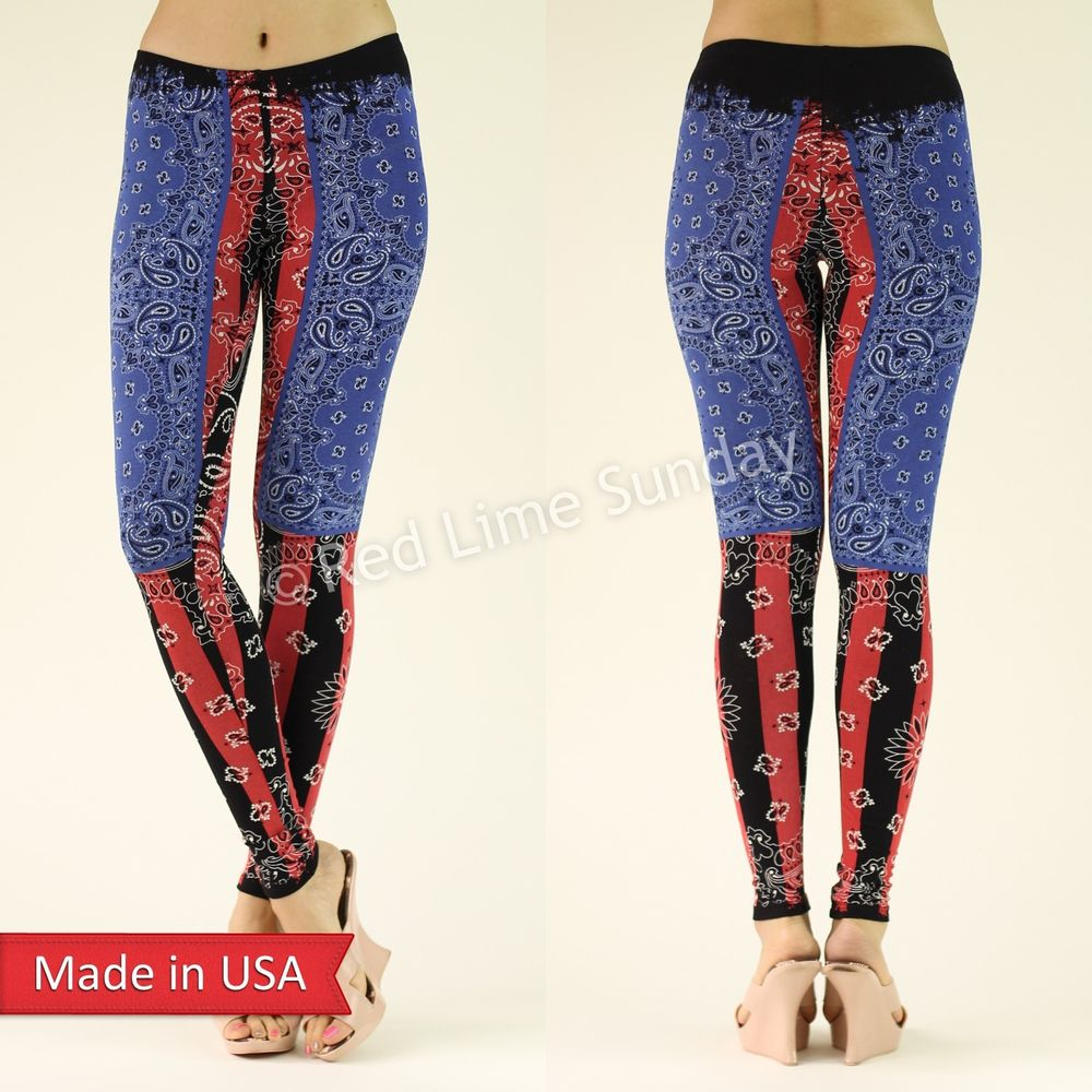 Women Blue Red Paisley Weathered Print Cotton Blend Leggings Tights Pants USA
