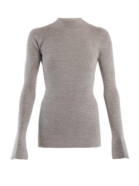 sweater high cotton grey