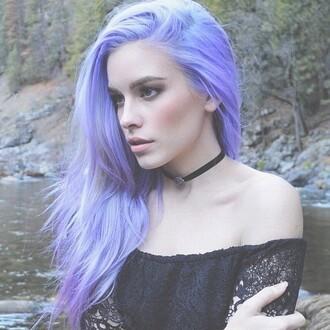 blouse purple hair blue black lace off the shoulder top choker necklace ribbon jewels