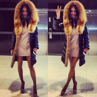 coat fur parka jacket swag model