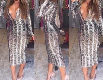 dress scalloped metallic midi dress silver sparkle new year's eve deep v
