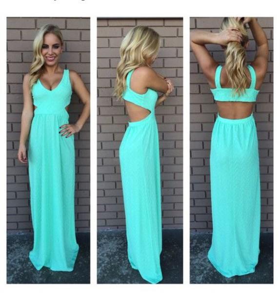 dress teal maxi dress