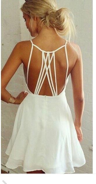 dress white cute summer lace short elegant dress lace dress summer dress birthday dress white dress short dress strappy backless dress