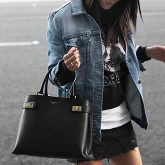 t-shirt denim skirt mini skirt denim jacket blogger blogger style band t-shirt handbag