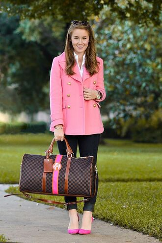bag pink pea coat leather duffle bag white shirt miu miu pea coat pink coat duffle bag leather bag pink heels pink pumps pink stilettos white button down shirt button down shirt gold watch micheal kors watch gold blue jeans skinny jeans leopard print sunglasses a lonestar state of southern blogger
