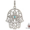 Ladies turquoise and diamond hamsa pendant 20841