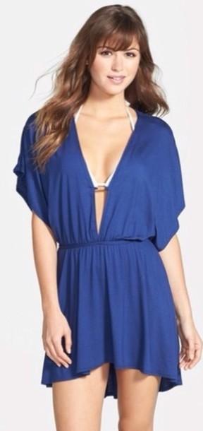dress white bikini top plunge neckline blue dress white bikini