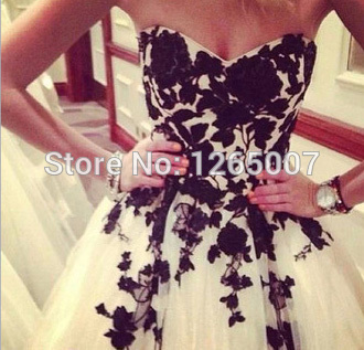Aliexpress.com : Buy Sweetheart Black Lace White Tulle A Line Mini Short Pretty Girl Party Dresses Gowns Special Occasion Fashion from Reliable dress lace up suppliers on SFBridal