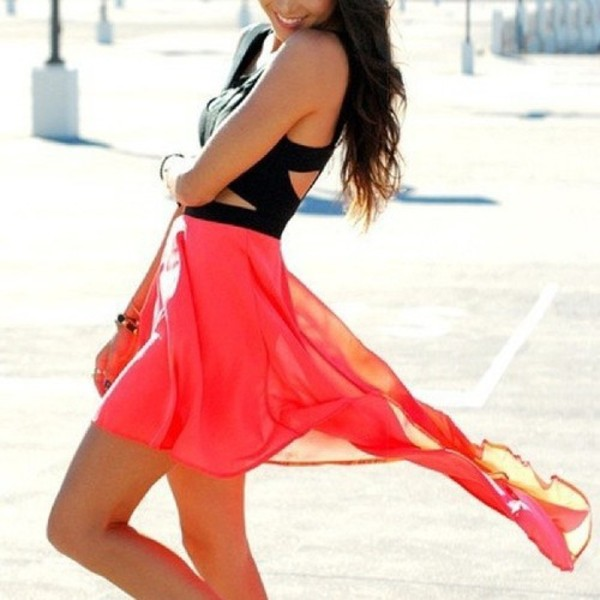 dress coral corail robe noir black voile summer dress high and low summer outfits pink dress black top skirt shirt top
