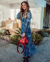 dress,maxi dress,blue dress,floral,floral dress,black boots,boots,ankle boots,bag