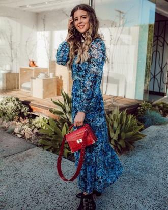 dress maxi dress blue dress floral floral dress black boots boots ankle boots bag