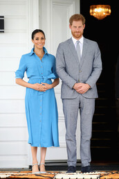 dress,meghan markle,midi dress,blue dress,shirt dress,celebrity