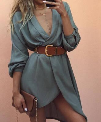 dress tumblr blue dress mini dress wrap dress asymmetrical asymmetrical dress waist belt belt bag brown bag necklace v neck v neck dress