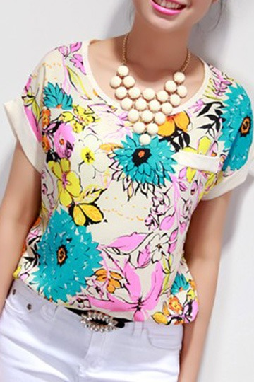 Summer Floral Colorful Chiffon Tee [FCBI00247]- US$13.99 - PersunMall.com