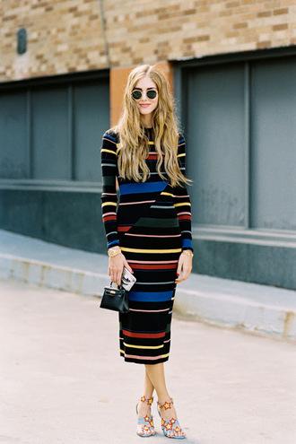 blogger sweater dress printed knit dress midi knit dress long sleeves long sleeve dress knitwear knitted dress midi dress stripes striped dress sunglasses chiara ferragni