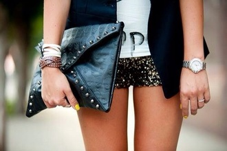 shorts strass paillettes bag