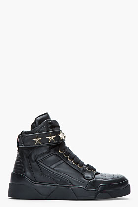Givenchy Black Leather Star-embellished High-top Sneakers ...