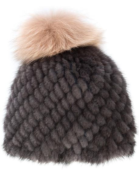 Jocelyn fur women beanie pom pom beanie grey hat