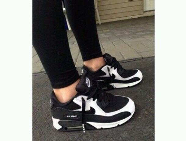 12486b0c5ed7 shoes nike air max white black black and white tennis shoes girly swag nike  air max