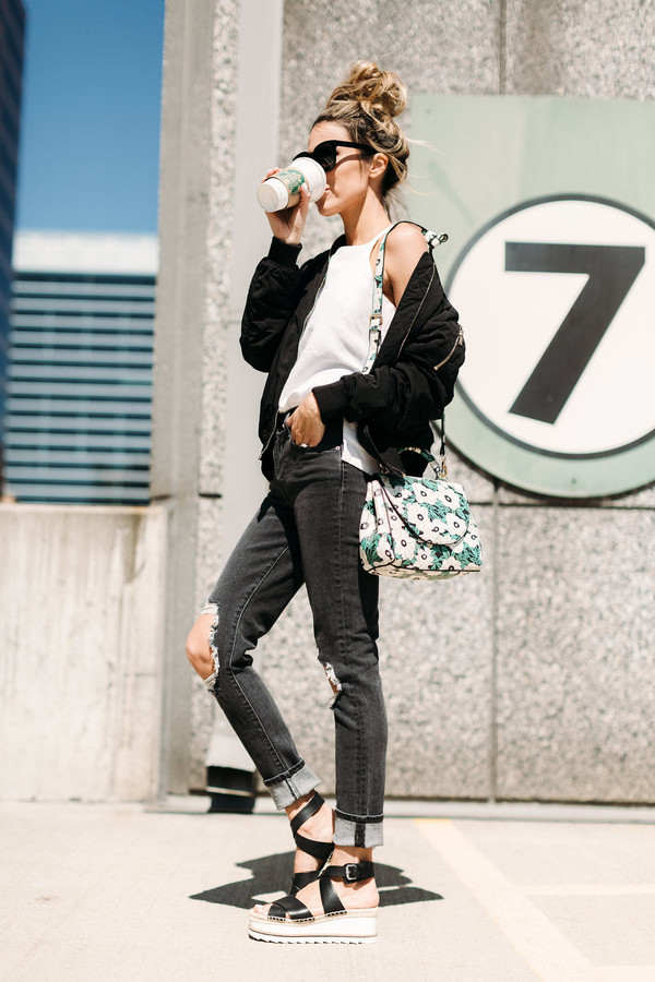 c229f298f37 hello fashion blogger dress jewels shoes black jacket floral bag tumblr  sandals flat sandals black sandals.