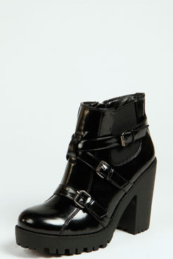 Maddy Buckled Chunky Ankle Boot at boohoo.com
