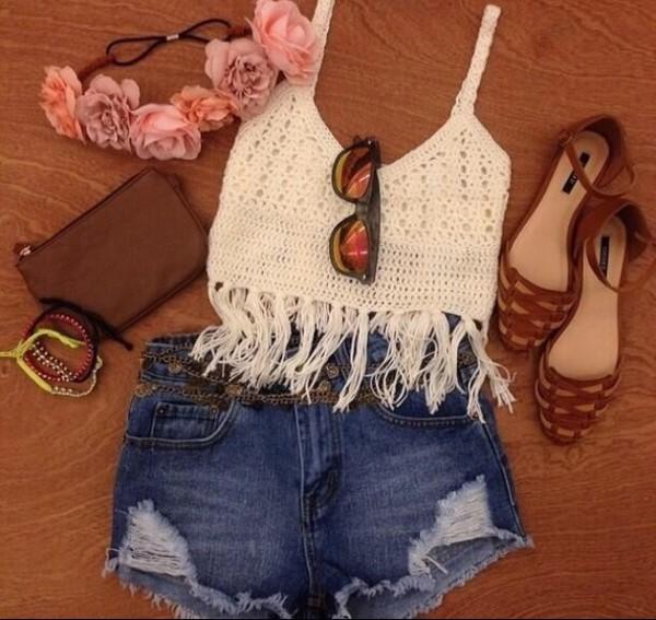 top white fringes crochet crop top crochet crop tops boho boho chic hat shoes
