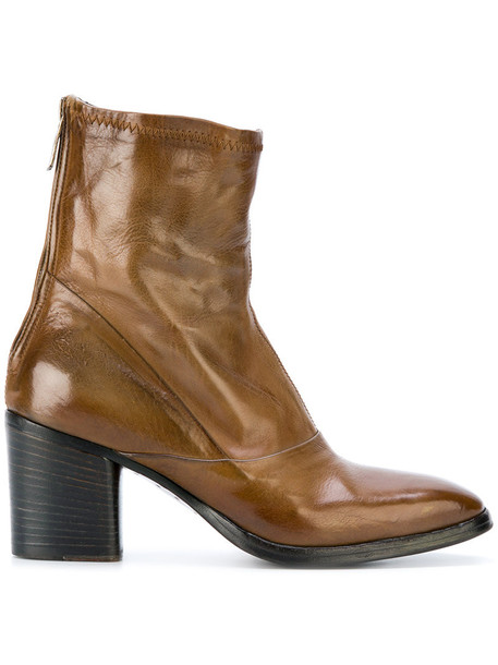 heel women ankle boots leather brown shoes