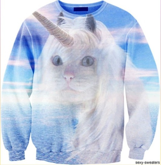 unicorn white cute pastel sweater cat funny weird quirky swag blue white cat sky ocean