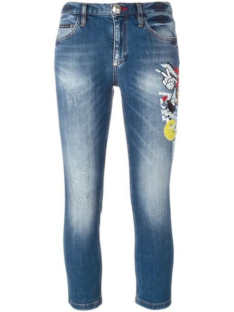 PHILIPP PLEIN jeans cropped jeans cropped women spandex cotton blue