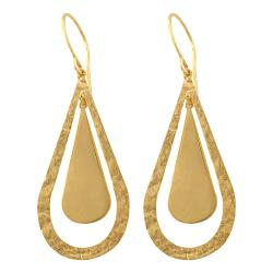Fremada 14k Yellow Gold Polished/ Hammered Teardrop Dangle Earrings | Overstock.com Shopping - The Best Deals on Gold Earrings