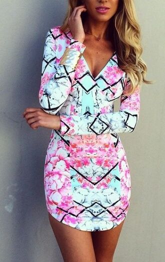 aqua diamonds sleeves short print floral dress v neck pink/aqua dress mini dress short dress colourful dress bright dress pinterest pink dress geometric pastel dress long sleeve dress summer dress tight