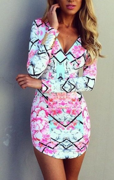 aqua v-neck diamonds sleeves short print floral dress pink/aqua