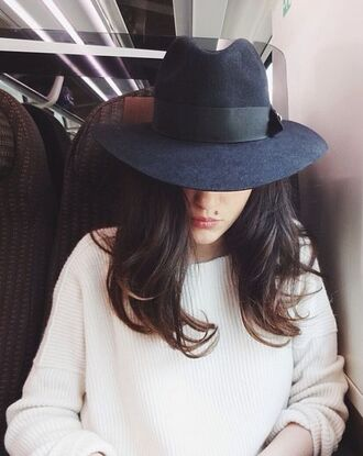 ribbon belt fedora brim hat blue suede fashion elegant white brunette dark navy streetstyle style
