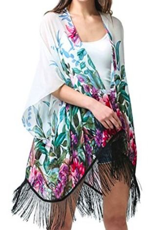 cardigan fringes floral pastel beach summer pool