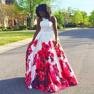 dress prom dress red flowers white ball gown dress halter top