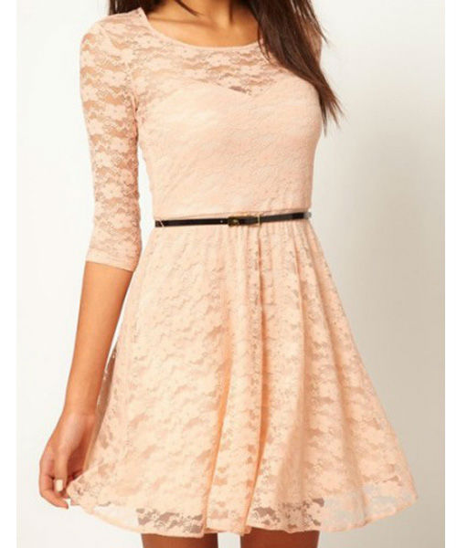 Women sexy spoon neck 3/4 sleeve lace sakter dress belt include 3817