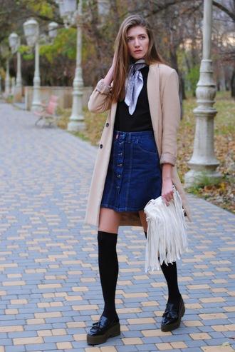 yuliasi blogger skirt coat socks shoes bag