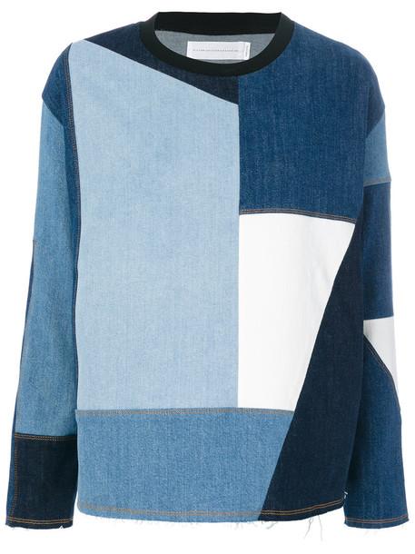 Victoria Victoria Beckham - patchwork sweatshirt - women - Cotton/Spandex/Elastane - 12, Blue, Cotton/Spandex/Elastane