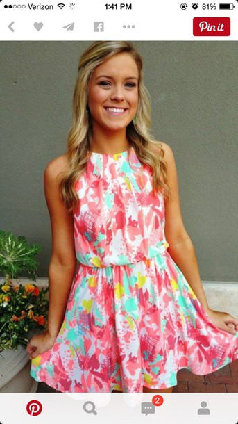 5cc68391349 dress bright dress colorful summer pink blue orange love rainbow floral tie  dye tie dye dress