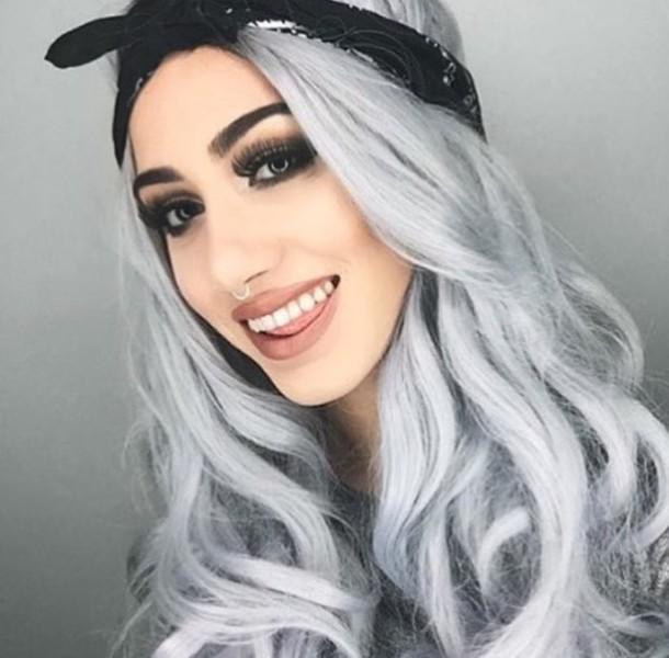 hair accessory bandana black bandana silver hair long hair hairstyles  make-up nude lipstick eye 3b1c0aed51b