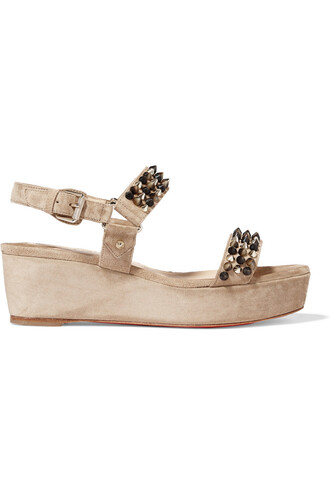 sandals platform sandals suede taupe neutral shoes