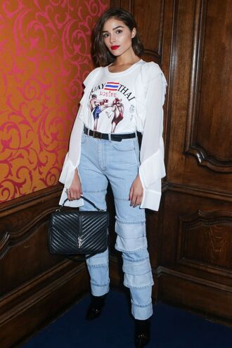 jeans denim top olivia culpo paris fashion week 2017 streetstyle fall outfits