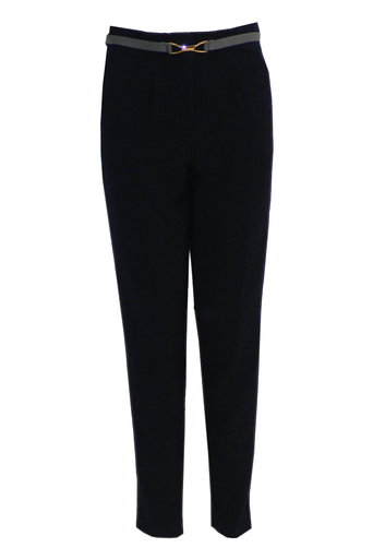 Mahsa High Waisted Chino Trousers in Navy - Pop Couture