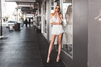 sbstnc blogger romper sunglasses jewels white romper lace up heels nude heels summer outfits lace romper
